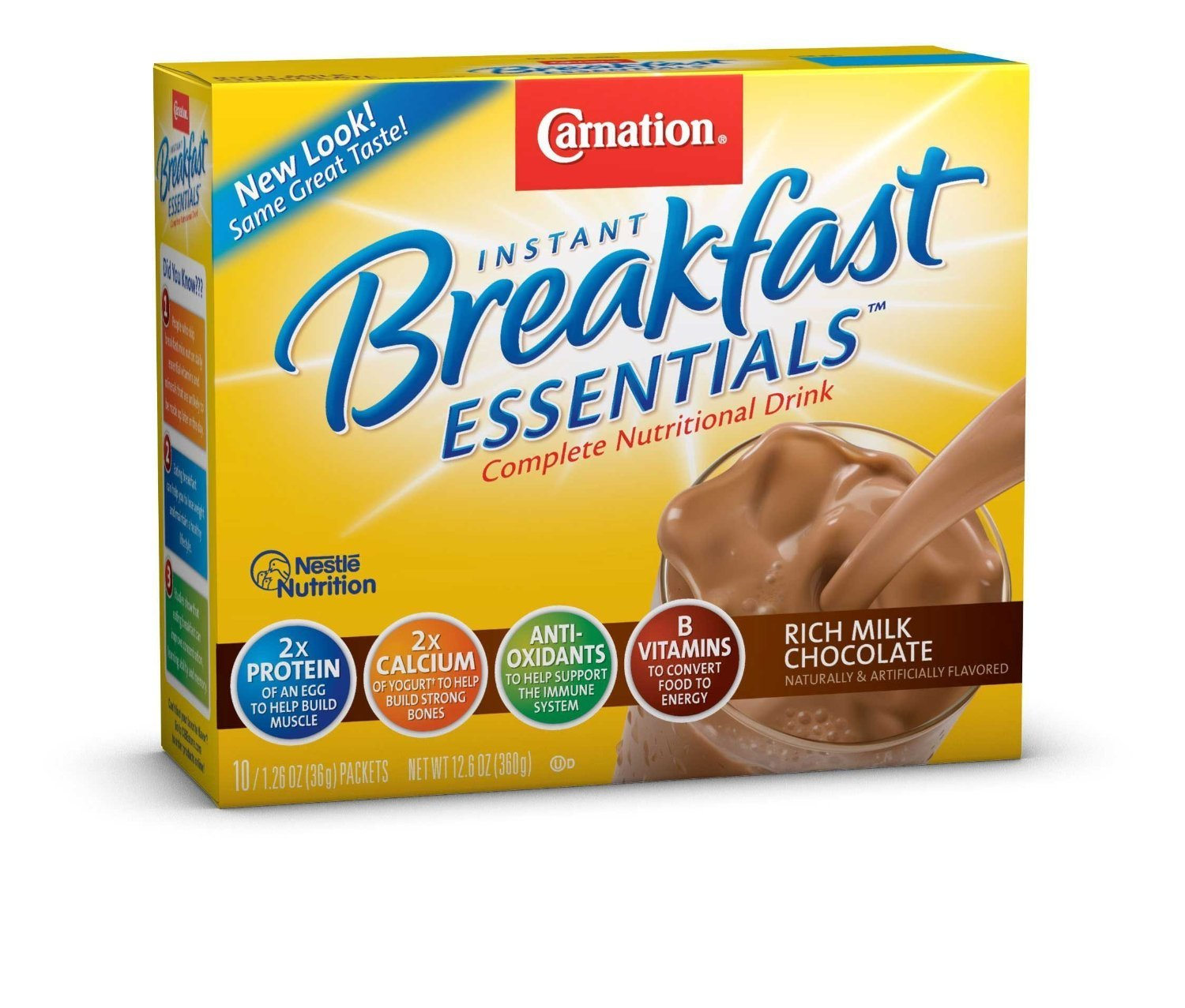 Nestle Carnation Instant Breakfast Rich Milk Chocolate 10 pk Nutritional Energy Drink 12.6 oz (Pack of 6) by Carnation Breakfast Essentials
