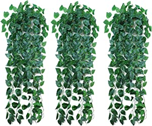 Artificial Plants 3 PCS Wall Hanging Small Faux Green Leaf, 3 Feet Tall Silk Wall Art Greenery for Home Decor, Indoor Bathroom, Decorative Outdoor,Decorations Baskets,Beach Wedding Party,Front Door