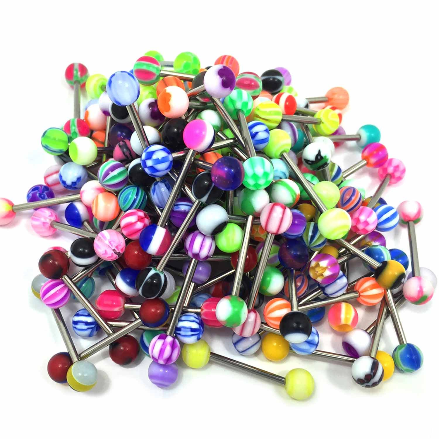 BodyJ4You 50PC Tongue Barbells Nipple Rings 14G Mix Acrylic Ball Steel Flexible Piercing Jewelry