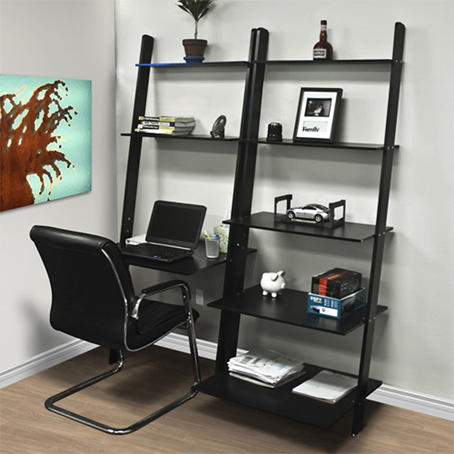 Amazon.com: AUEY Leaning Shelf Bookcase with Computer Desk ... on home library with ladder, home office furniture ideas, home office desk with drawers, home office furniture design, girls loft bunk beds with desk, home office bookcase with ladder, home office desk furniture wood, home office wall units with desk,