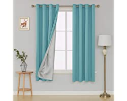 Deconovo Thermal Insulated Blackout Curtains Energy Saving Decorative Grommet Drapes with Silver Coating for Sliding Glass Do