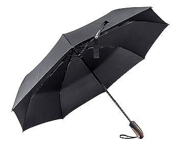 Shinmax Paraguas Plegable, Paraguas con Mango de Madera de Viento con el Material 210T Prueba