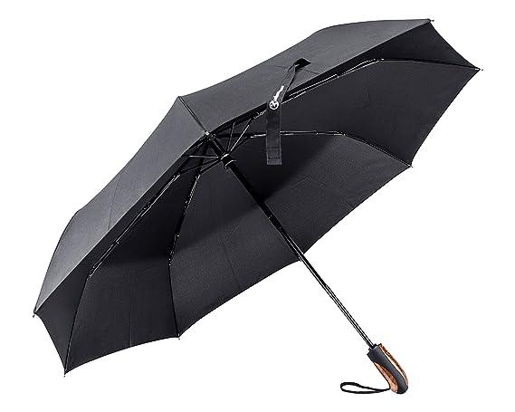 Shinmax Paraguas Plegable, Paraguas con Mango de Madera de Viento con el Material 210T Prueba en Estrecha-Paraguas Plegable Portátil Automática para los ...