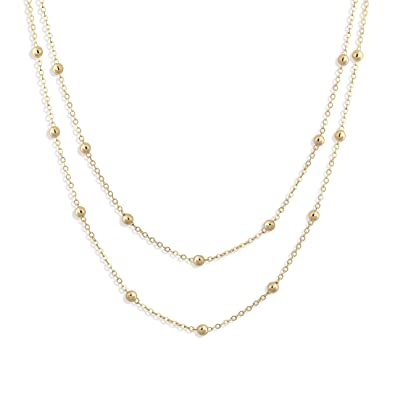 d5fc9d9c3230c Fettero Dainty Layered Gold Chocker Handmade Beads 14K Gold Fill Heart  White Opal Necklace