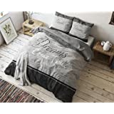 SleepTime Bettwäsche True Dreams, 200cm x 200cm, mit 2 Kissenbezüge 80cm x 80cm, Grau