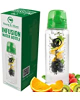 Infuser Water Bottle 31 Ounce - Made with BPA Free TRITAN - Young & More EasyFlip - Free Recipe Ebook DOWNLOAD - Flip Top Lid with Carrying Handle