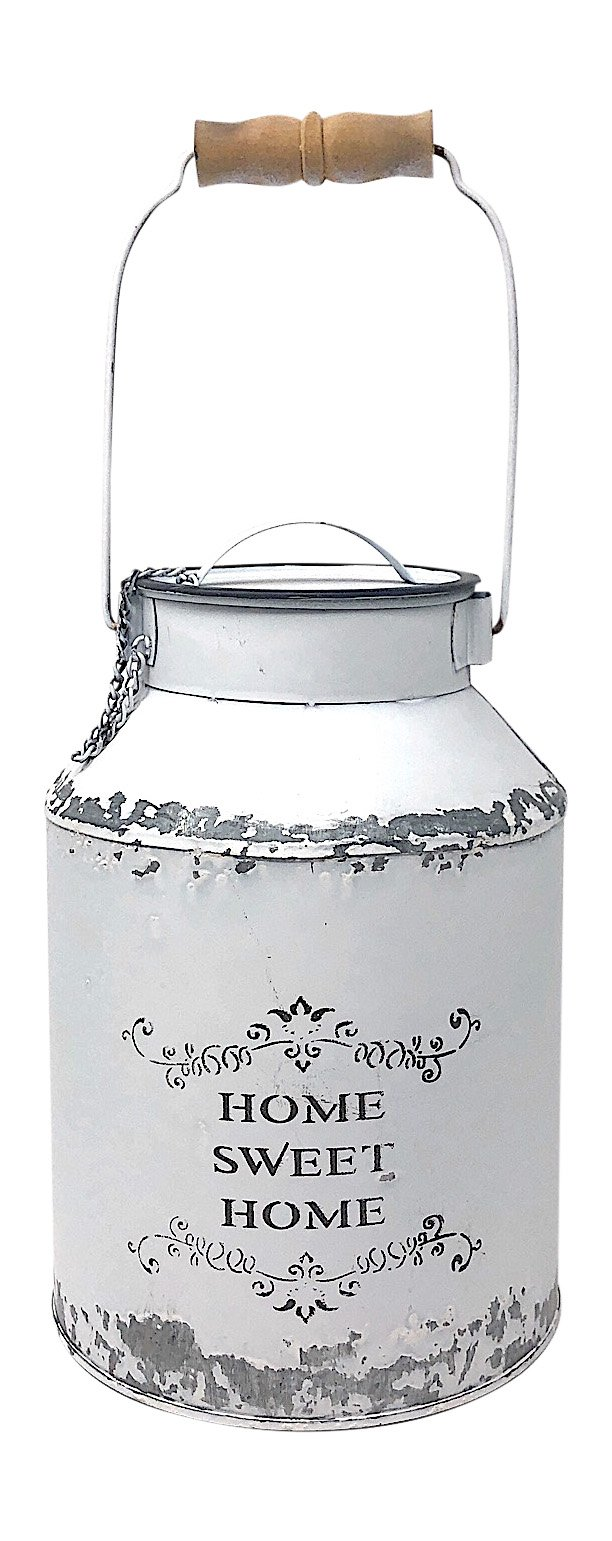 Direct Int Decorative Water Can White Metal Galvanized Small Mini Rustic Decor Country Vase Flowers Home Sweet Home 7.5'' x 5''