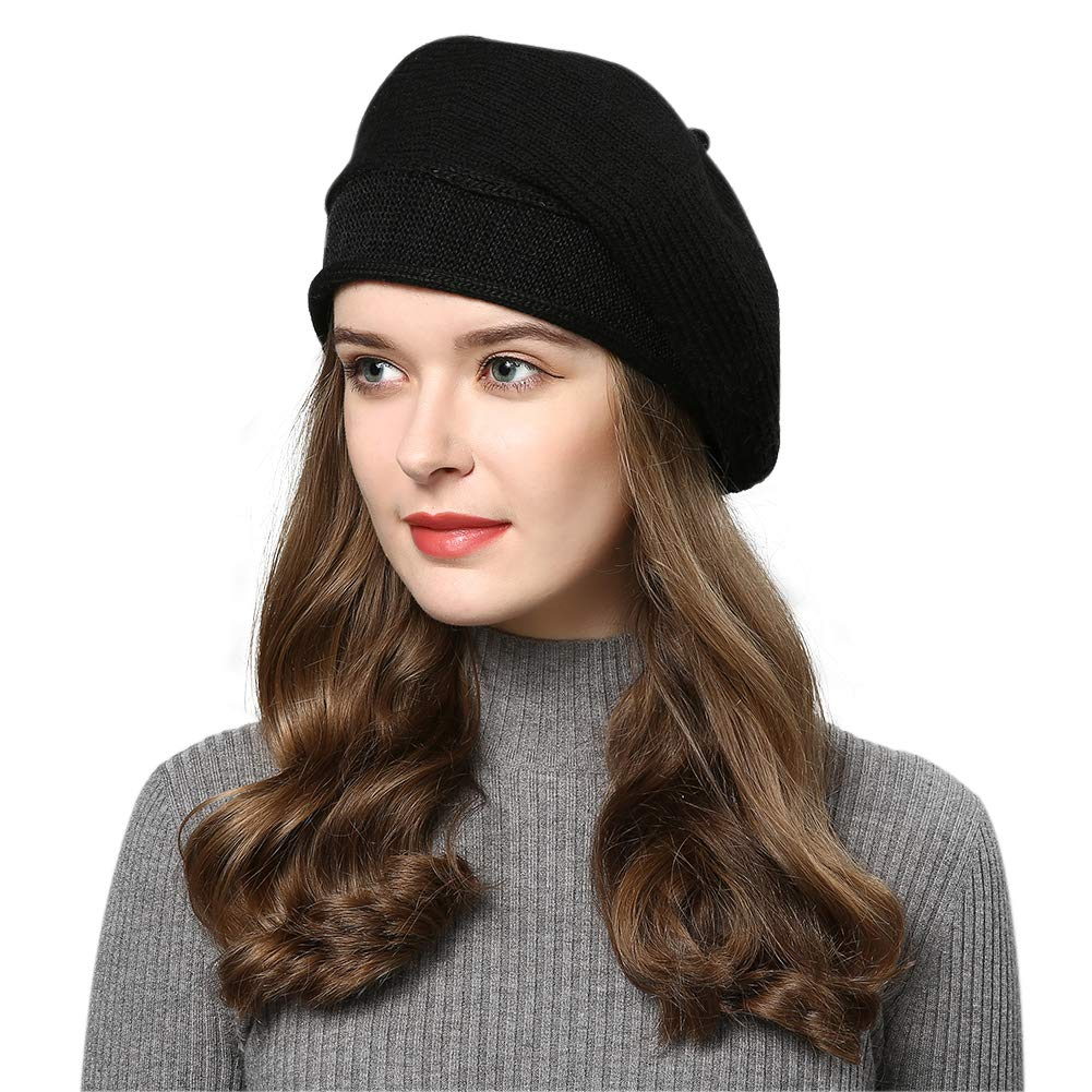 FURTALK French Style Beret Hats for Women Wool Knit Stretchable Artist Hats Black