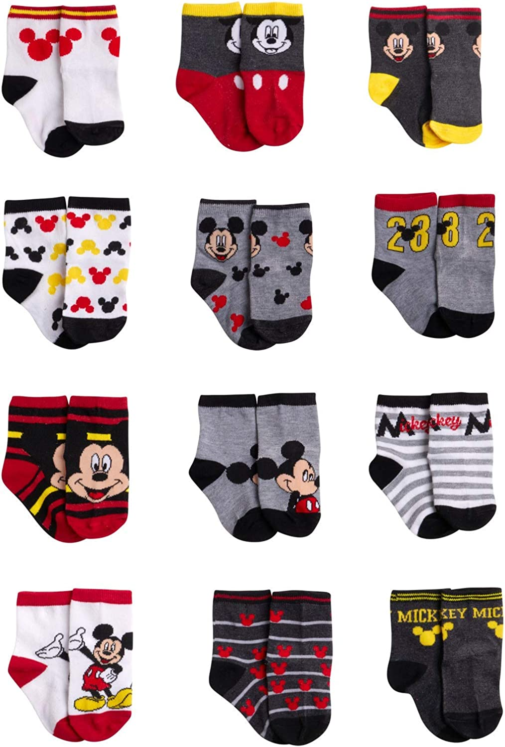 Disney Baby Boys Mickey Mouse Charachter Designs Socks 12 Pack (newborn and Infants)