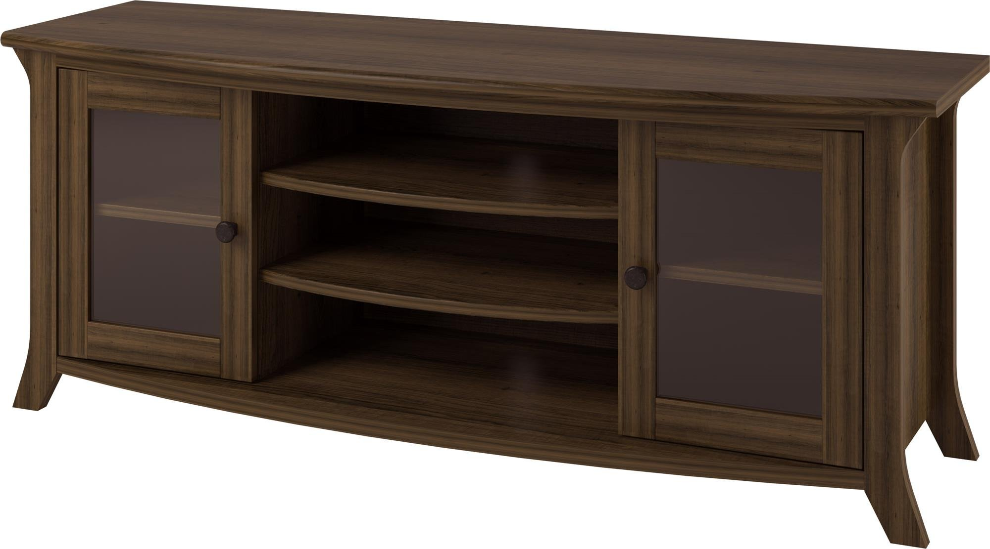 Ameriwood Home Oakridge TV Stand with Glass Doors for TVs up to 60'', Brown Oak