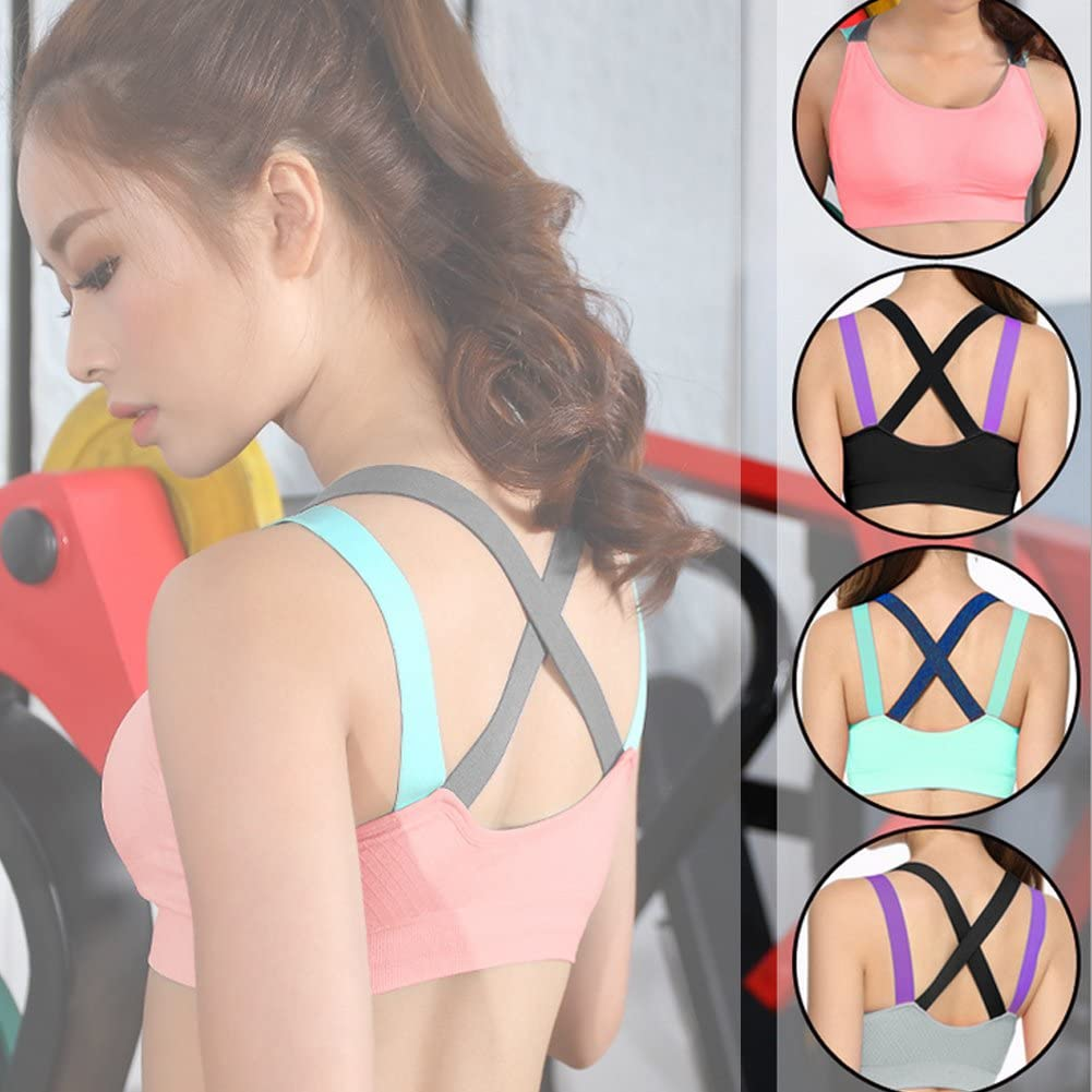 Alomejor Fitness Sports Bra Womens Yoga Workout Gym Running Shockproof Padded Top