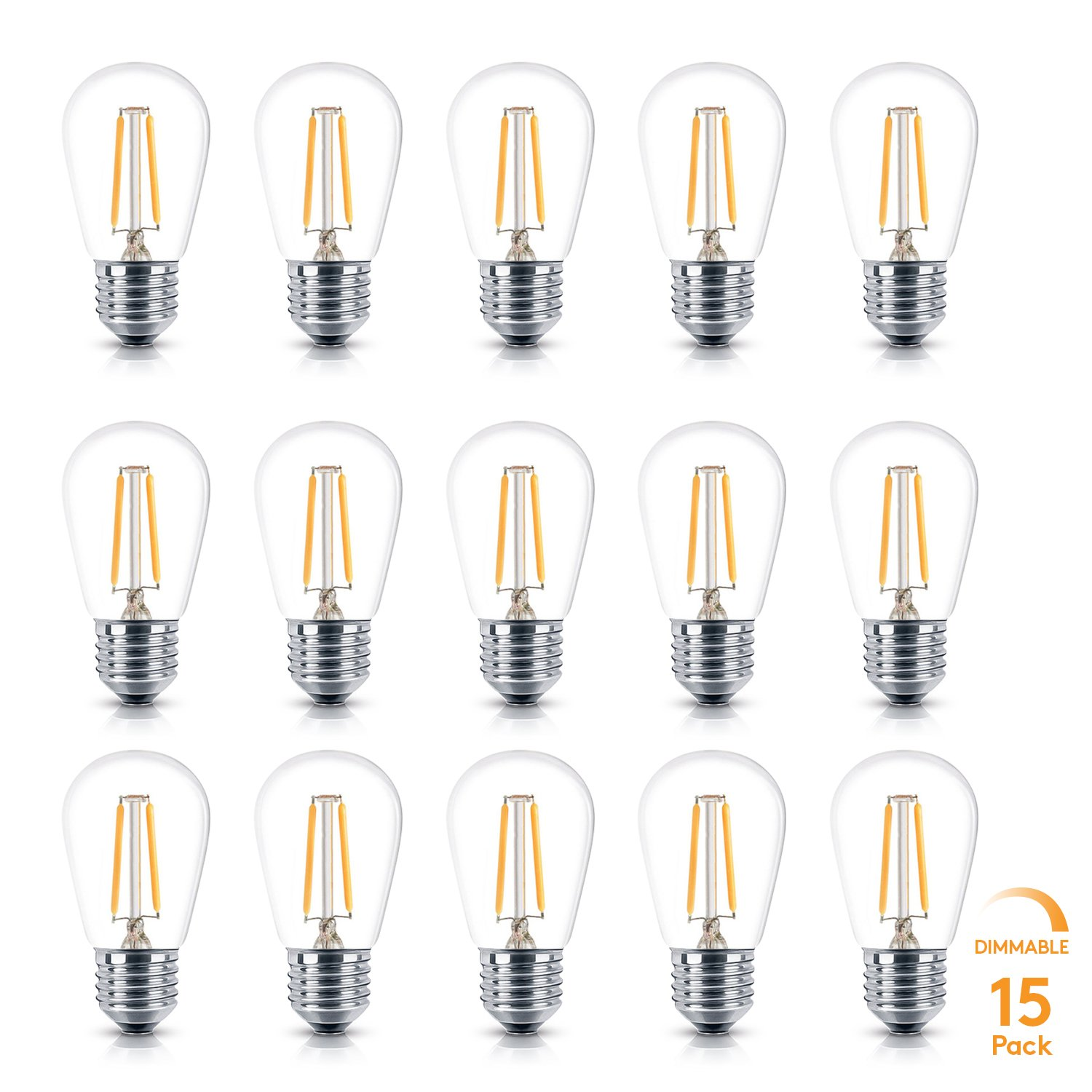 Brightech Ambience PRO LED S14 2 Watt Warm White 2700K Dimmable Bulb - Equal to 20-25W Incandescent Bulbs - Outdoor String Lights - Edison-Inspired Exposed Filaments Design- 15 Pack - E26 Base