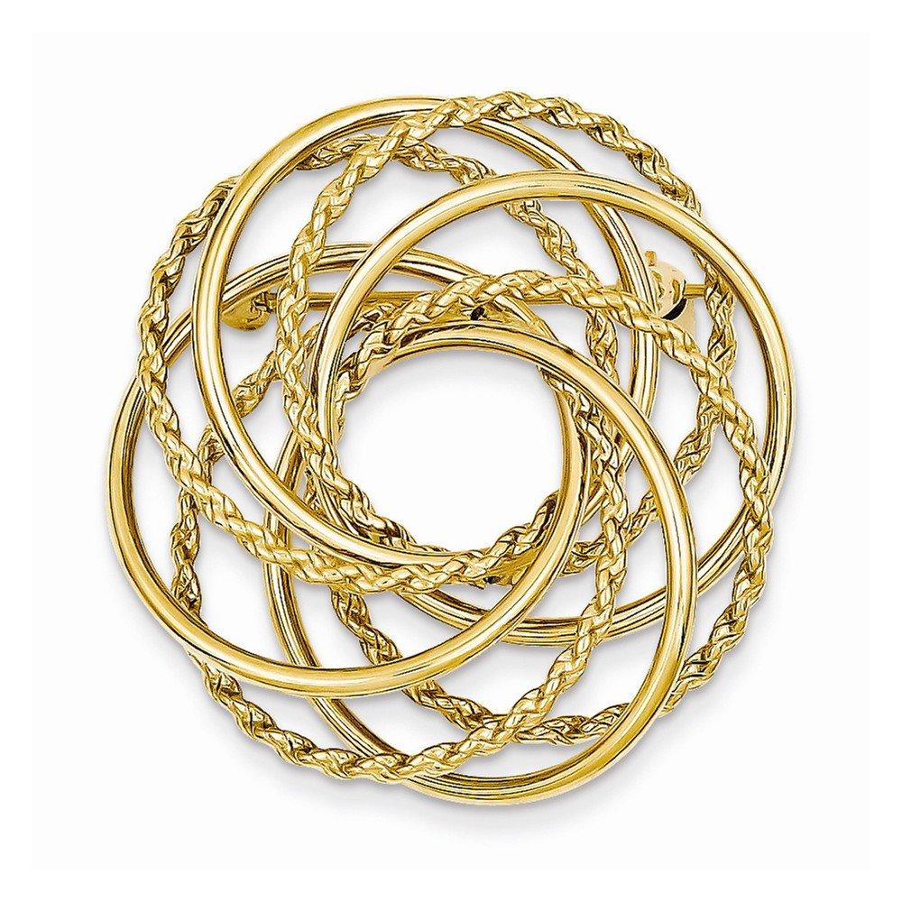 14k Yellow Gold Hollow Swirled Designer Ciclre Pin