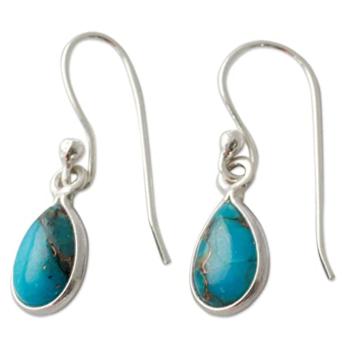 NOVICA Reconstituted Turquoise .925 Sterling Silver Dangle Earrings, Beautiful Blue Goddess
