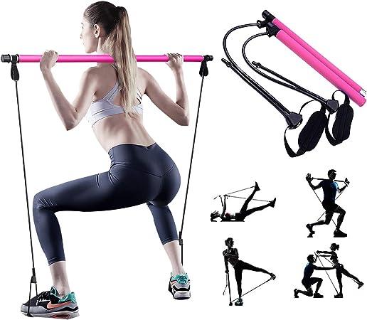 PLEASION Ajustable Barra de Pilates con Bandas de Resistencia, Maquinas de Gimnasio para Casa Pilates Portátile, Kit Fitness y Bucle para el Pie Hacer ...