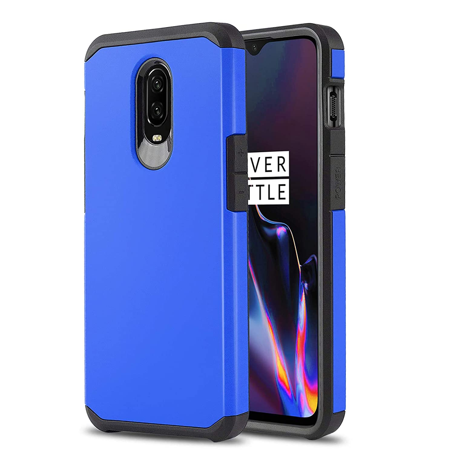 Phone Case for [ONEPLUS 6T (T-Mobile)], [DuoTEK Series][Blue] Shockproof  Dual Layer Hybrid Hard Cover [Impact Resistant][Defender] for OnePlus 6T