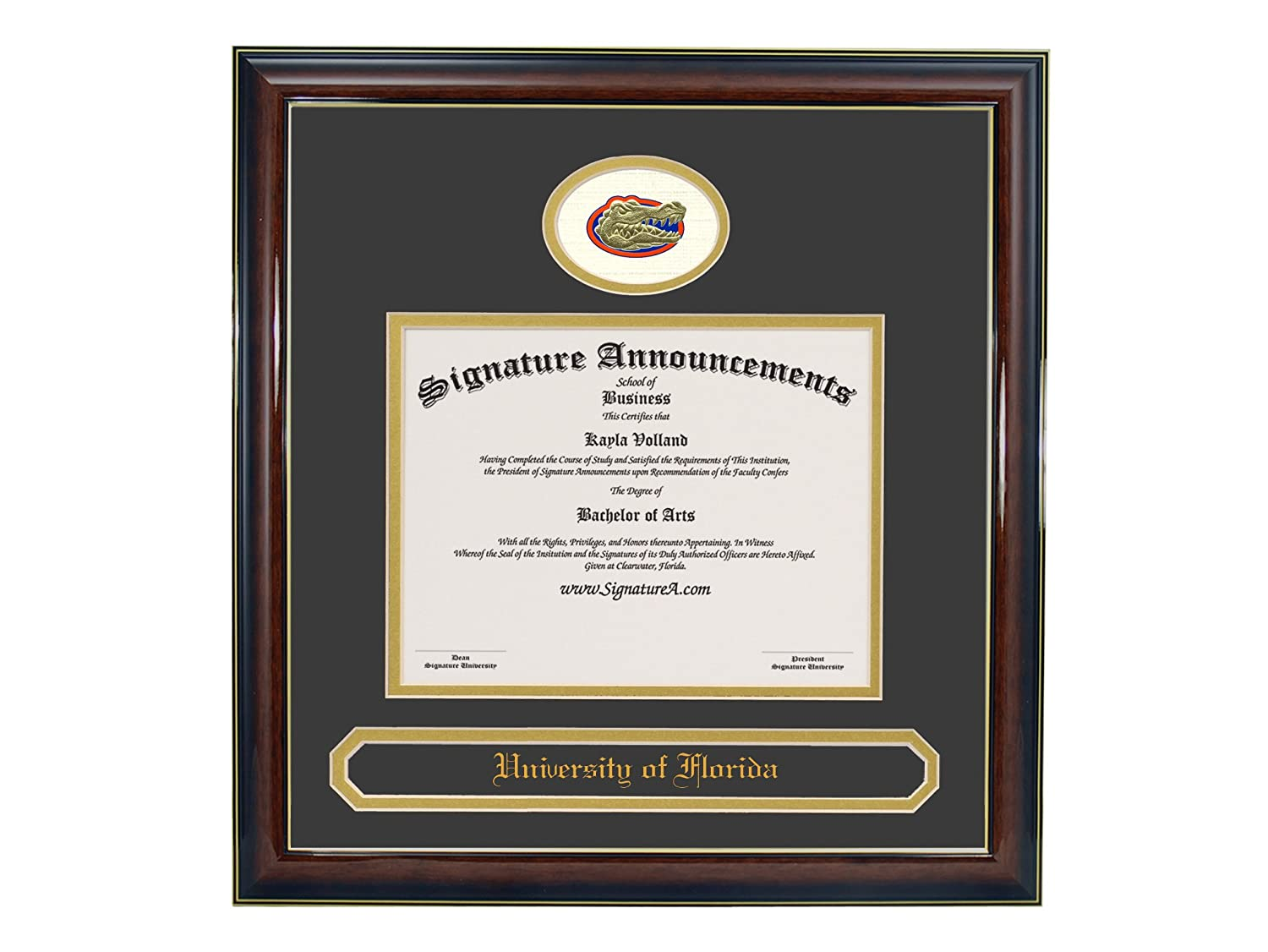 Undergraduate and Graduate Graduation Diploma Frame with Sculpted Foil Seal /& Name Signature Announcements University of Florida Gloss Mahogany w//Gold Accent, 20 x 20 UF