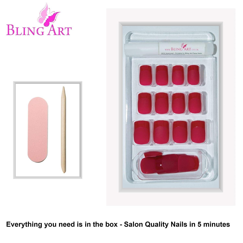 Uñas Postizas Bling Art Rojo Matte 24 Squoval Medio Falsas puntas acrílicas con pegamento