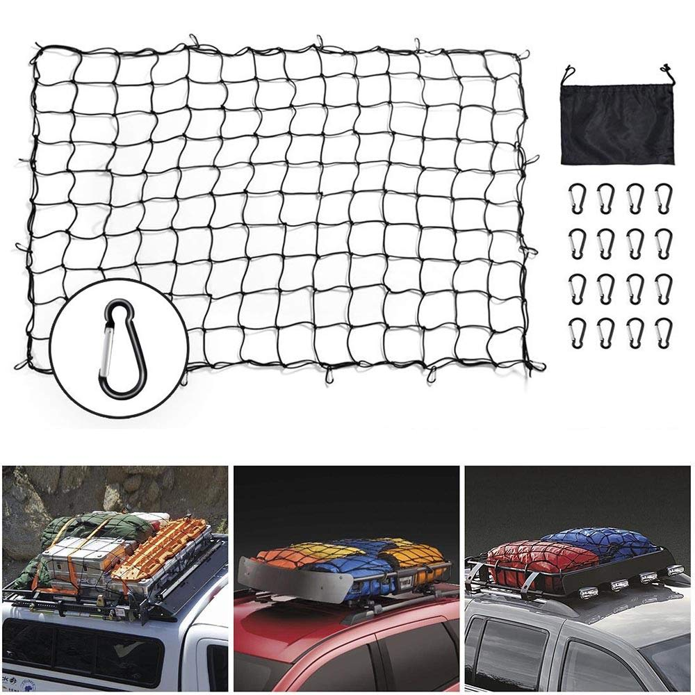 SUPAREE Bungee Cargo Net, 5'x7' Cargo Net Heavy Duty Truck Bed Nets Stretches to 10'x14' Suv Cargo Net For Rooftop Cargo Carrier with 16pcs D Clip Carabiners for Pickup Truck SUV Trailer Boat RV