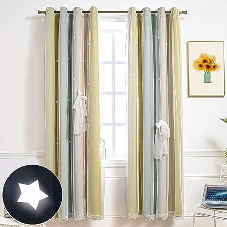 CoutureBridal dormitorio de color amarillo estrellas de voile para ni/ños y ni/ñas 90 x 132 cm Cortina opaca con ojales para habitaci/ón de los ni/ños 1 unidad