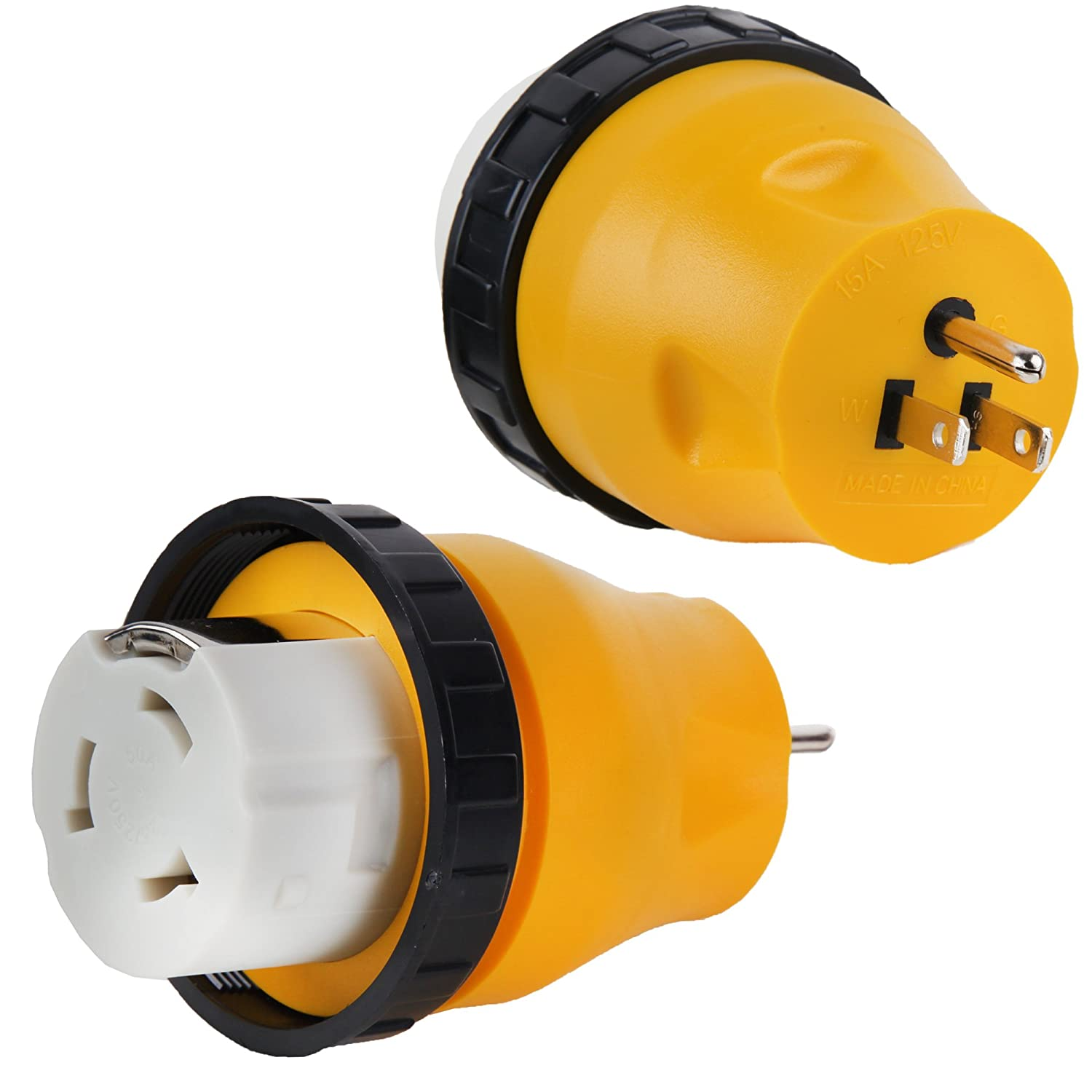 Proline 15amp Male to 50amp Female Twist Lock Power Cord Adapter RV, Camper, Electrical Adapter NEMA 5-15P to SS2-50R DRM Products Inc.