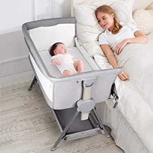 CRZDEAL Bassinet for Babies Lightweight and Mobile with Storage Basket Bedside Sleepers for Baby/Infants/Baby Girl/Baby Boy to Reduce Mom's Fatigue