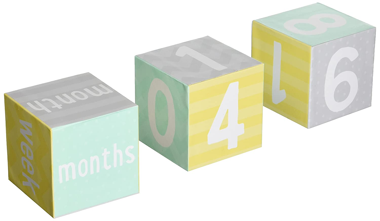 Tiny Ideas Photo Sharing Keepsake Age Blocks, Perfect Gift for New Parents, Gray/Yellow/Aqua 96212