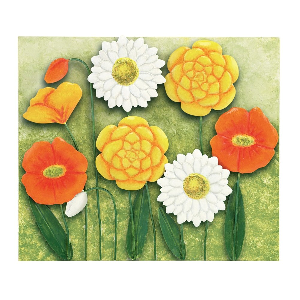 Amazon.com: 3D Floral Poppy Metal Wall Art in Orange, Yellow, Green ...