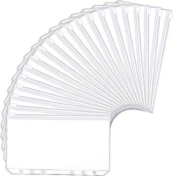 Waterproof PVC Pouch Document Filing Bags Harphia 14PCS Binder Pockets A6 Size 6 Holes Binder Zipper Folders for 6-Ring Notebook Binder Loose Leaf Bags
