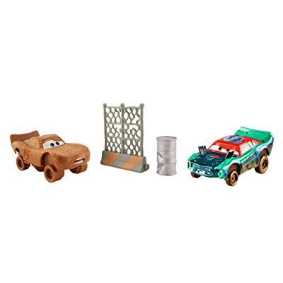 Disney Pixar Cars 3 Crazy 8 Crashers Fishtail & Lightning McQueen As Chester Whipplefilter Vehicle, 2 Pack: Toys & Games