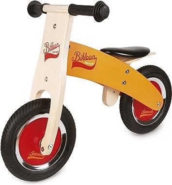 Janod Little Bikloon Mi Primera Bicicleta sin pedales, madera, Amarillo / rojo (J03263): Amazon.es: Juguetes y juegos