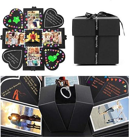 JOYUE Creative Explosion Box Caja de Regalo Sorpresa DIY Photo Album Scrapbook Regalos de Valentín, Cumpleaños, Aniversario (Caja de Regalo Negro): Amazon.es: Hogar