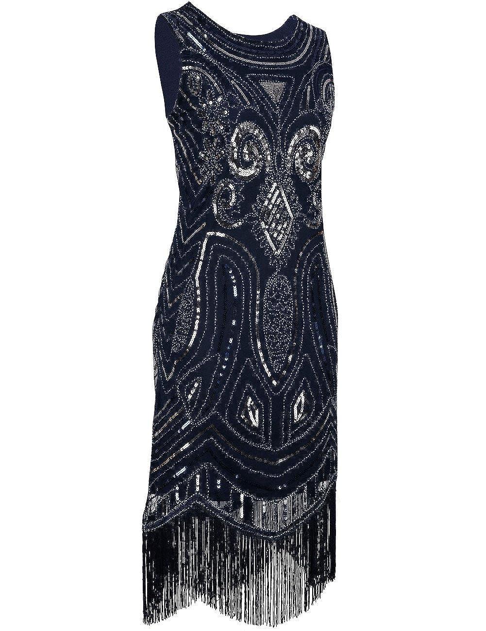 kayamiya Mujer 1920s Lentejuelas con Cuentas Decorativas Flecos Gatsby Flapper Dress - -: Amazon.es: Ropa y accesorios