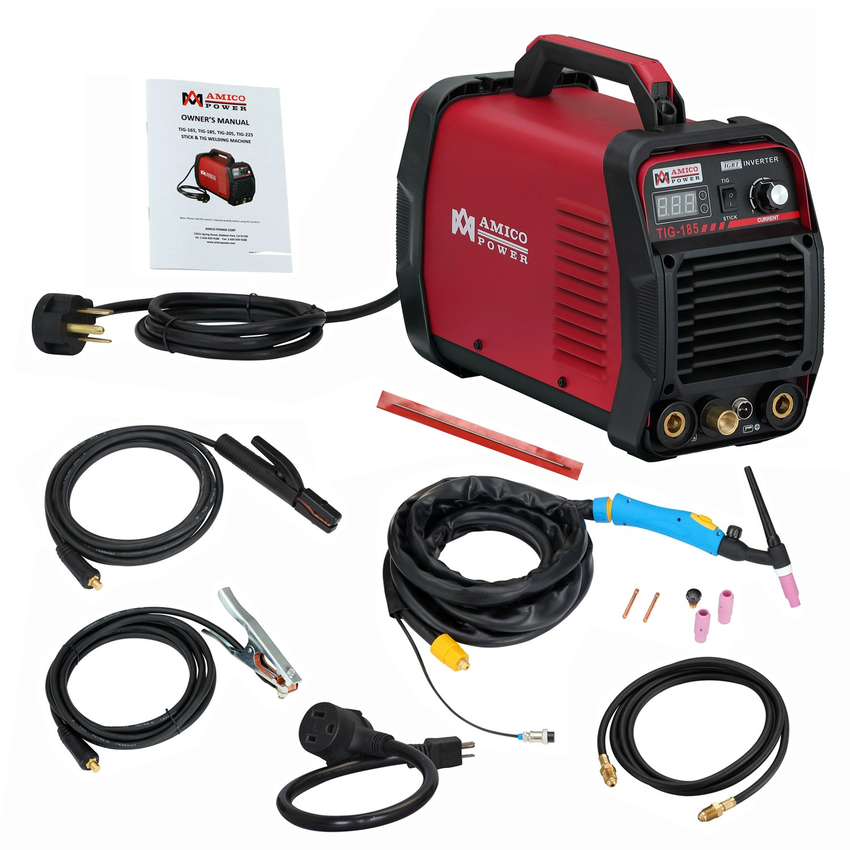 AMICO POWER ATIG1852018 TIG-185/180 Amp HF TIG Torch/Stick/Arc Welder 115 & 230V Dual Voltage Welding Machine, Red by Amico