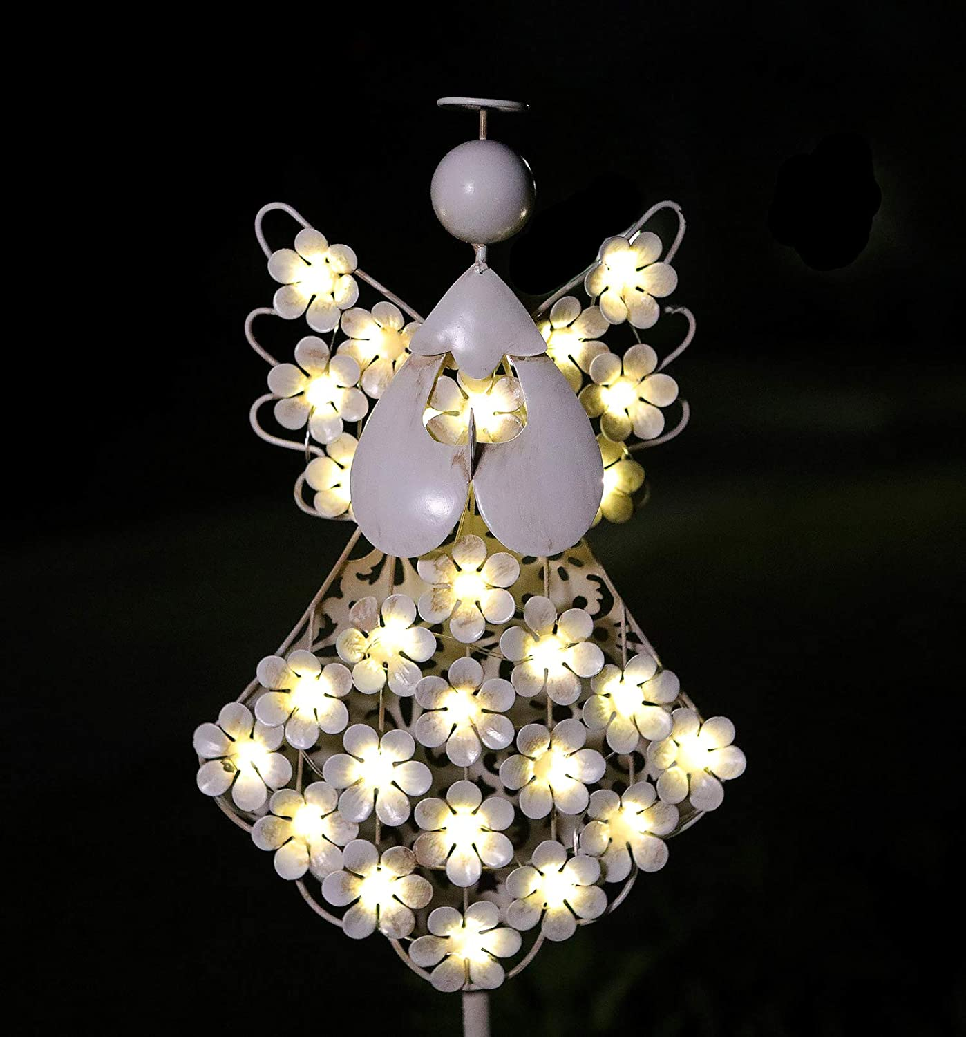 WSgift Solar Garden Angel Stake Lights Metal Hydrangea Angel Stake Memorial Gift w/ 27 Solar LEDs Solar Angel Lights Perfect as Angel Remembrance Gifts & Sympathy Gifts (7.7