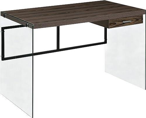 OneSpace Escher Skye Computer Writing Desk, Glass and Wood, Walnut