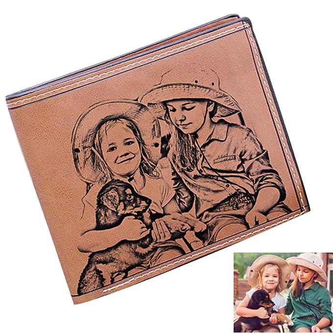 Cartera Personalizada Grabado Personalizado Carteras fotográficas Monedero de Cuero de Vaca Titular de la Tarjeta de crédito Moda Hombres Cartera: ...
