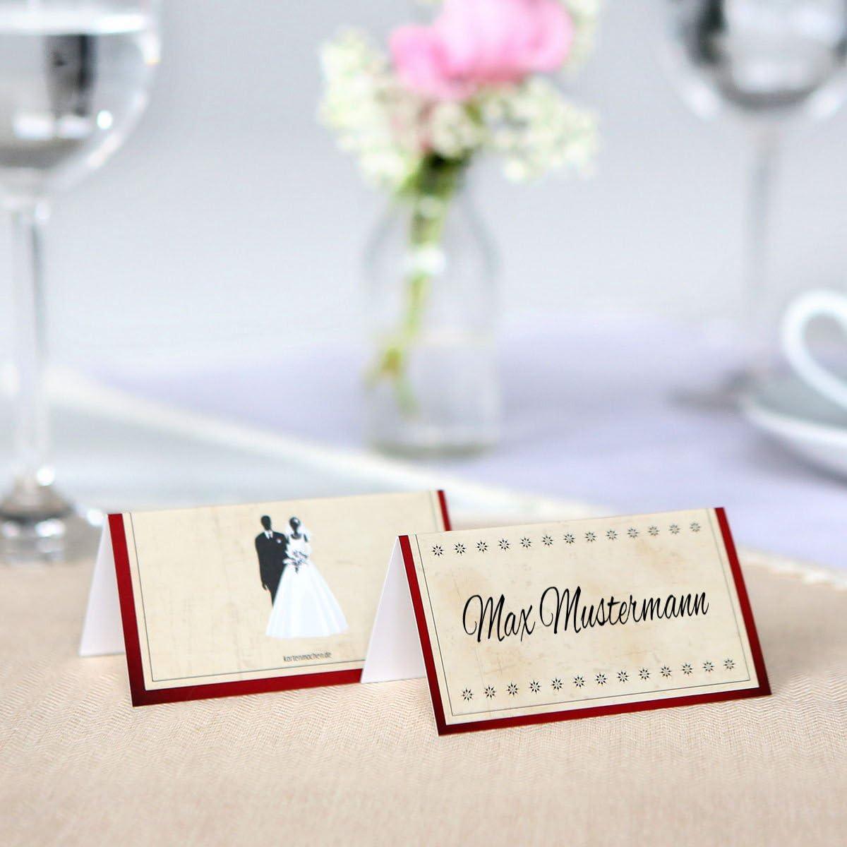 Vintage Brautpaar in Rot 30 x Blanko Platzkarten Namenskarten Tischkarten Geburtstag Hochzeit