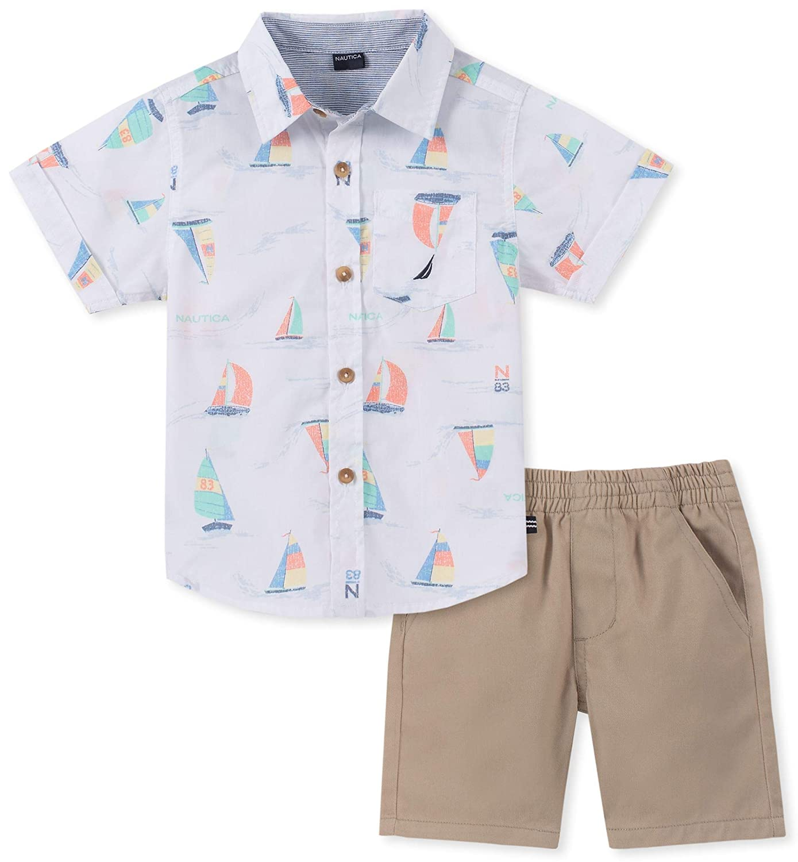 Nautica Sets KHQ Baby Boys 2 Pieces Shirt Shorts Set