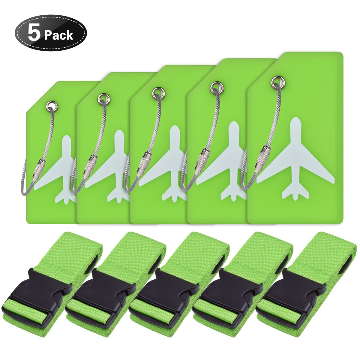 Luggage Accessories-Luggage Straps/Luggage Tags By Ovener (Green 5 Set)