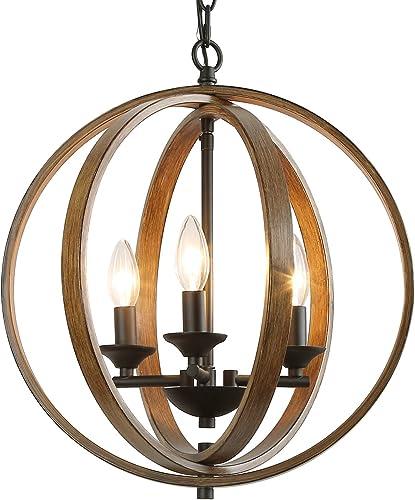 LOG BARN 15.5 Globe Chandeliers Farmhouse Pendant Light, 3-Light Hanging Foyer Lighting, Faux-Wood Finish 15.5