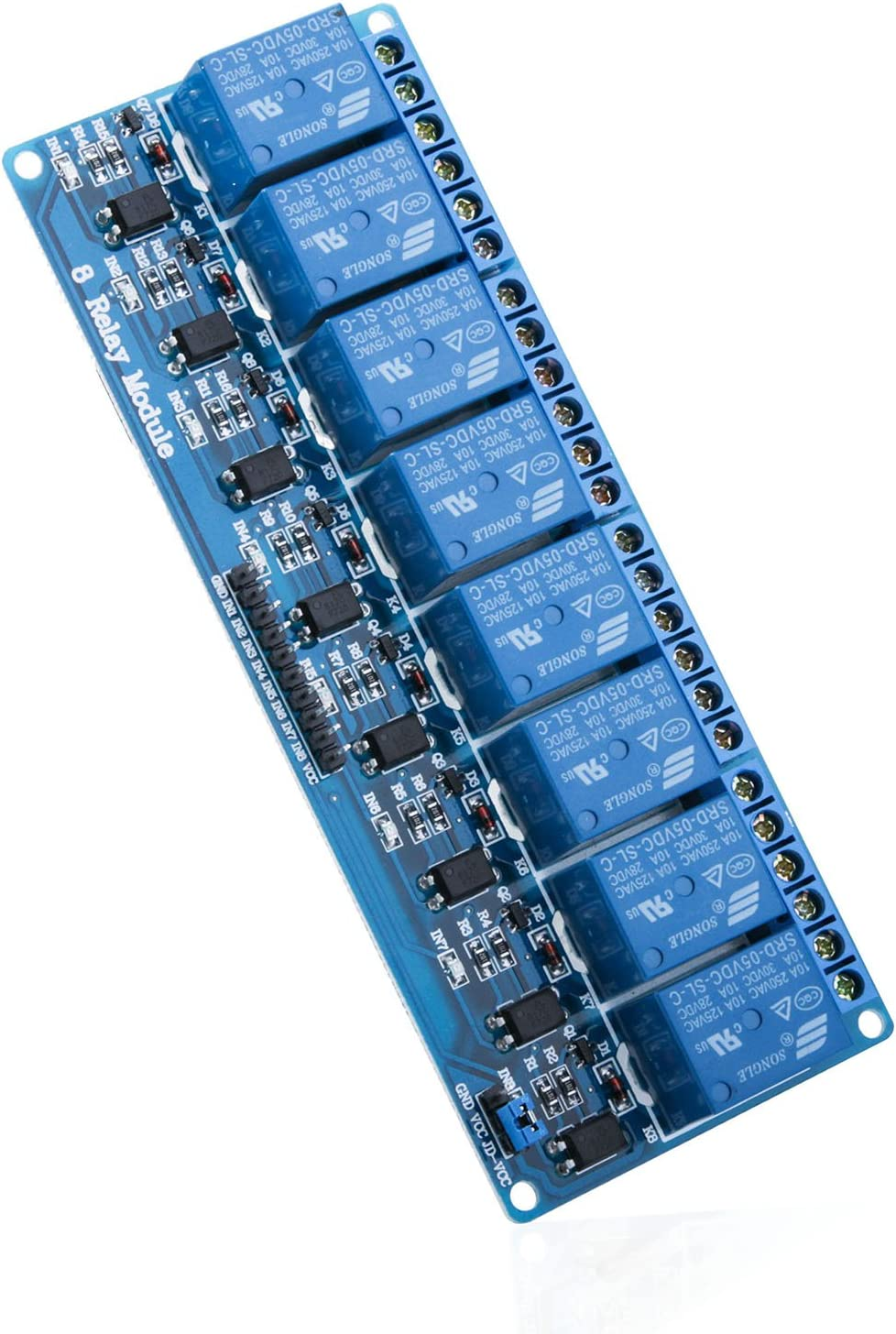 ELEGOO Módulo Relé de 8 Channel DC 5V con Optoacoplador para Arduino UNO R3 MEGA 2560 Proyecto 1280 DSP ARM PIC AVR STM32 Raspberry Pi