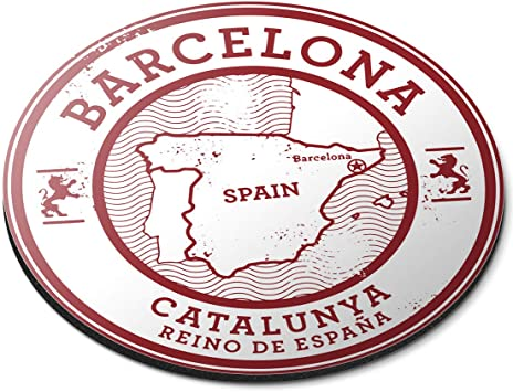 Alfombrilla de ratón Redonda – Barcelona Catalunya España Mapa ...