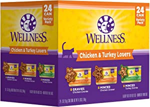 Wellness Complete Health Natural Grain Free Wet Canned Cat Food Variety Packs, 3 oz (Pack of 24)