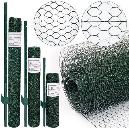 4 Poteaux 80cm Haut Vert NIEDERBERG METALL Grillage 13x13mm Rouleau 5x0,5m