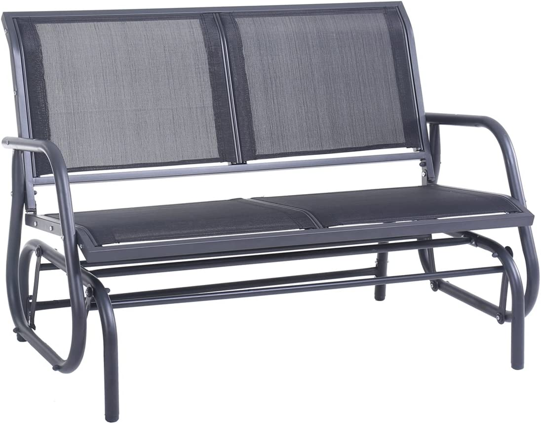 Superjare Outdoor Swing Glider Chair, Patio Bench for 2 Person, Garden Loveseat, Rocking Seating – Gray