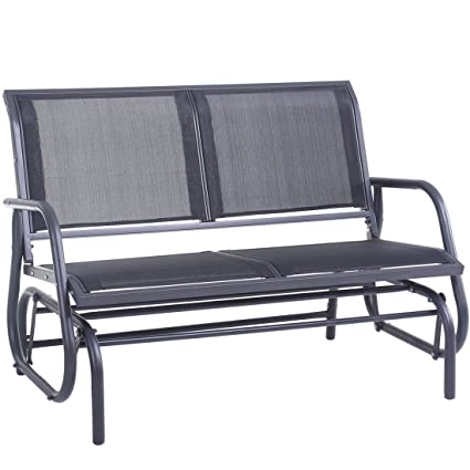 SUPERJARE Outdoor Swing Glider Chair, Patio Bench 2 Person, Garden Rocking  Seating   Gray