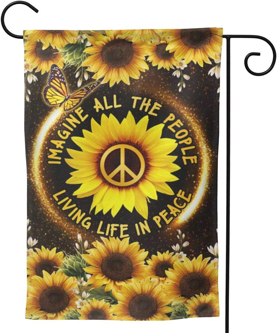 2056 pants Hippie Sunflower. Imagine All The People Living Life in Peace Flag 3D Print Vertical Double Sided Home Decoration Outdoor Garden Patio Yard Lawn Flag 12.5 X 18inch