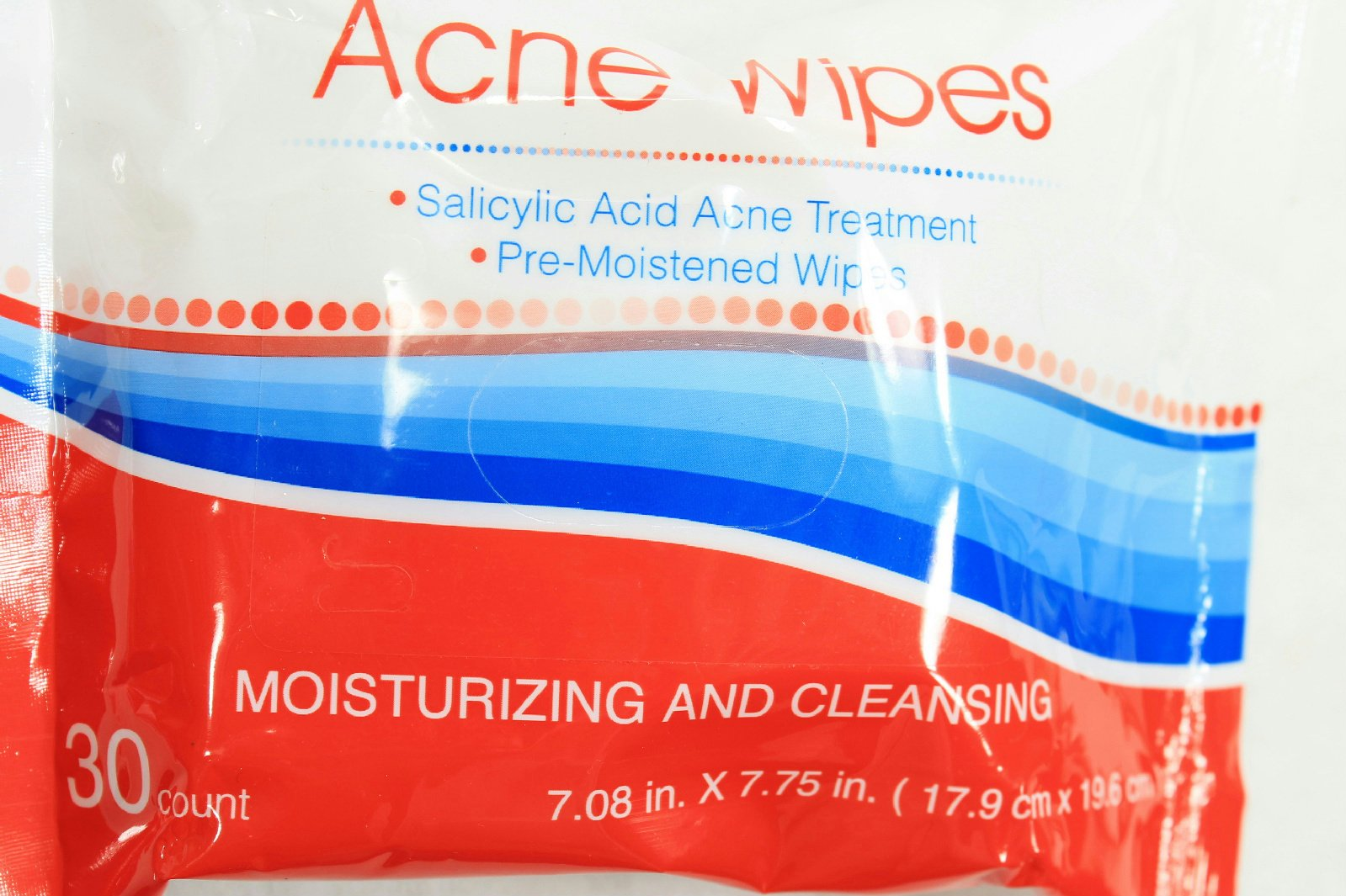 30 Ct Acne Moisturizing & Cleansing Pre-Moistened Clean Clear Skin Wipes