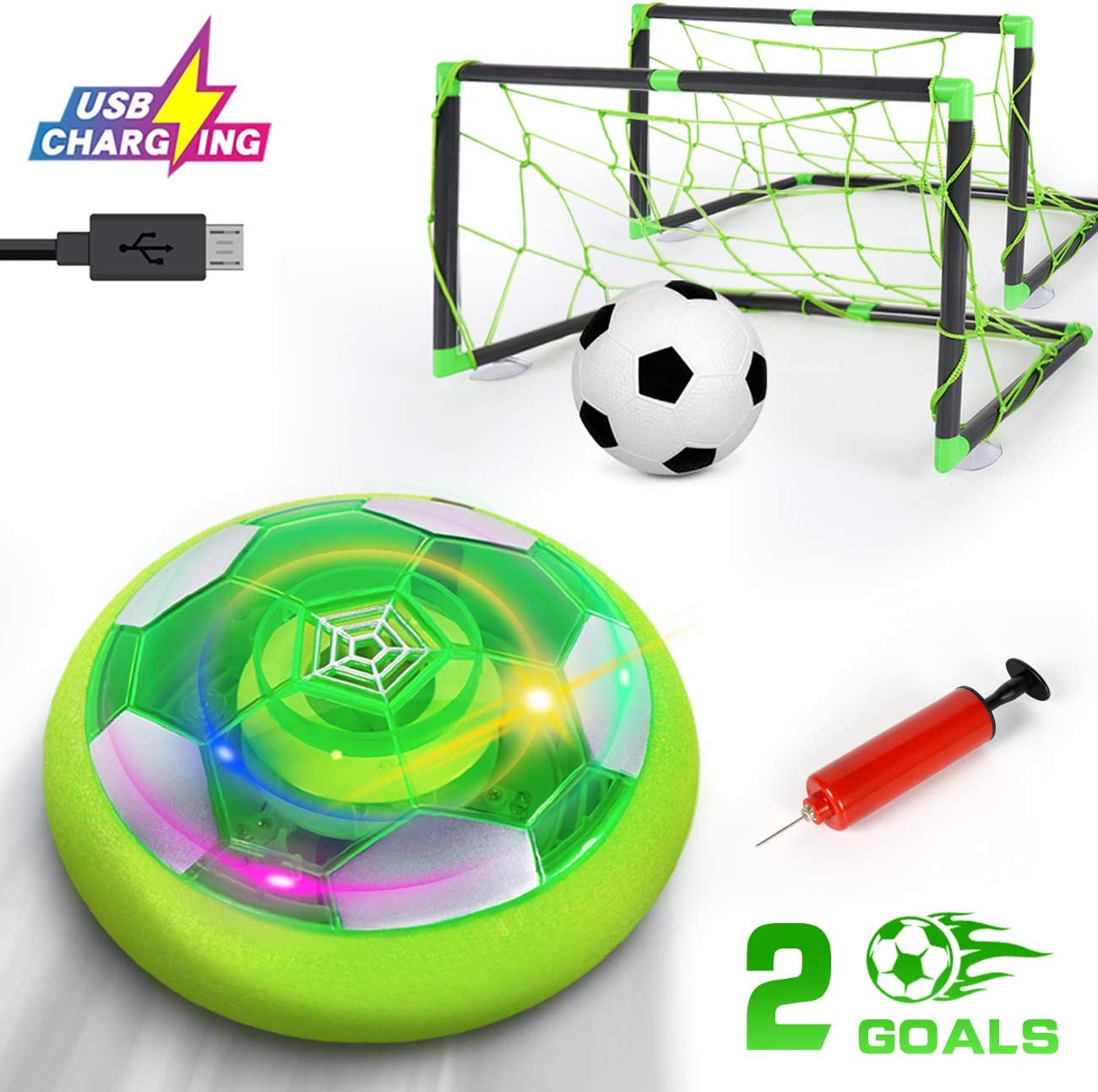 KingsDragon Kids Toys Hover Soccer Ball,Rechargeable Air Soccer Set With 2 Goals, Indoor Outdoor Soccer Game Toy With LED Light & Safe Foam Bumpers & Extra Inflatable Ball,Gift For Boys Girls Toddlers